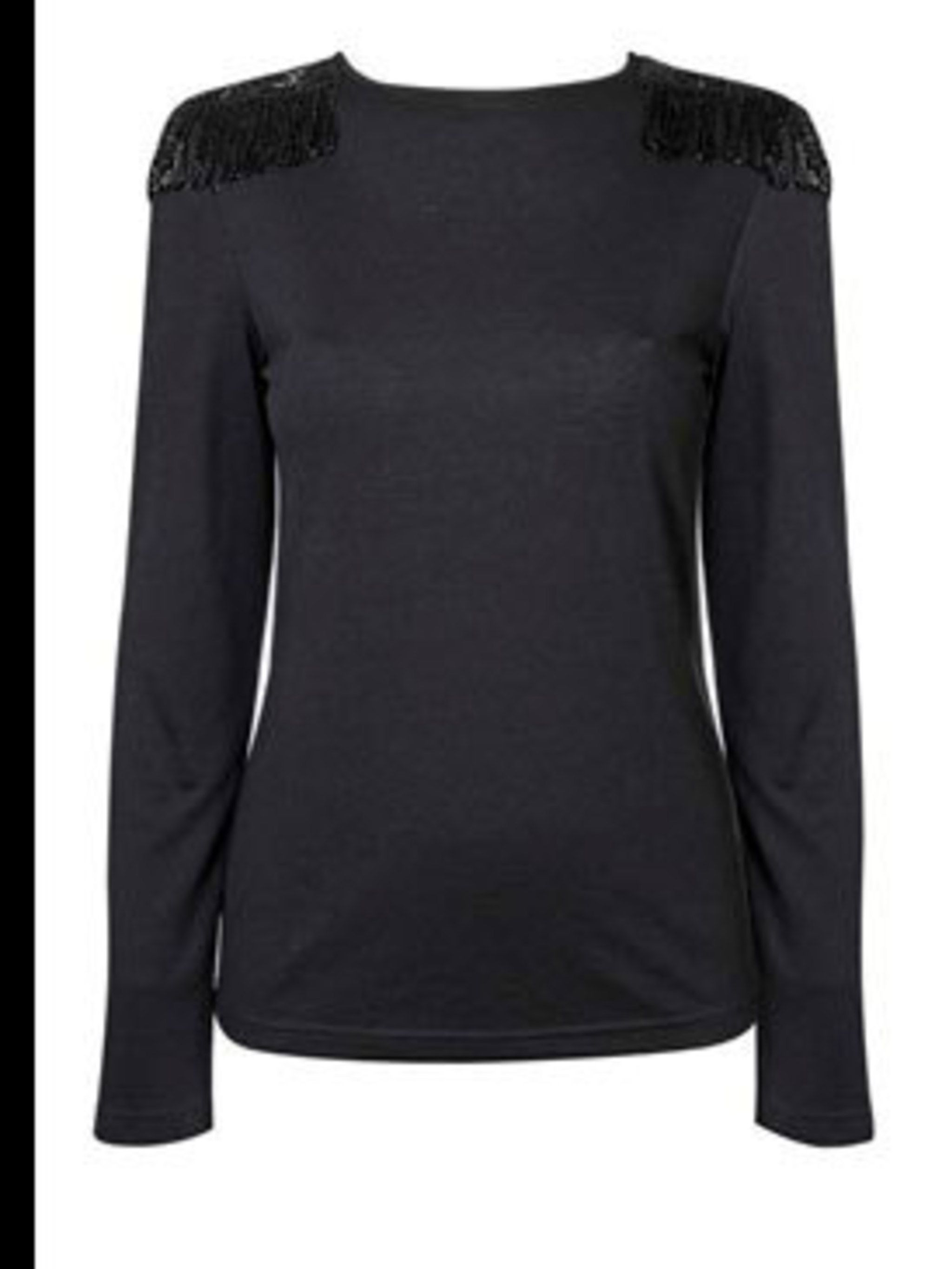 <p>Navy jumper with sequin shoulders, £35, by Warehouse (0870 1228 813) </p>