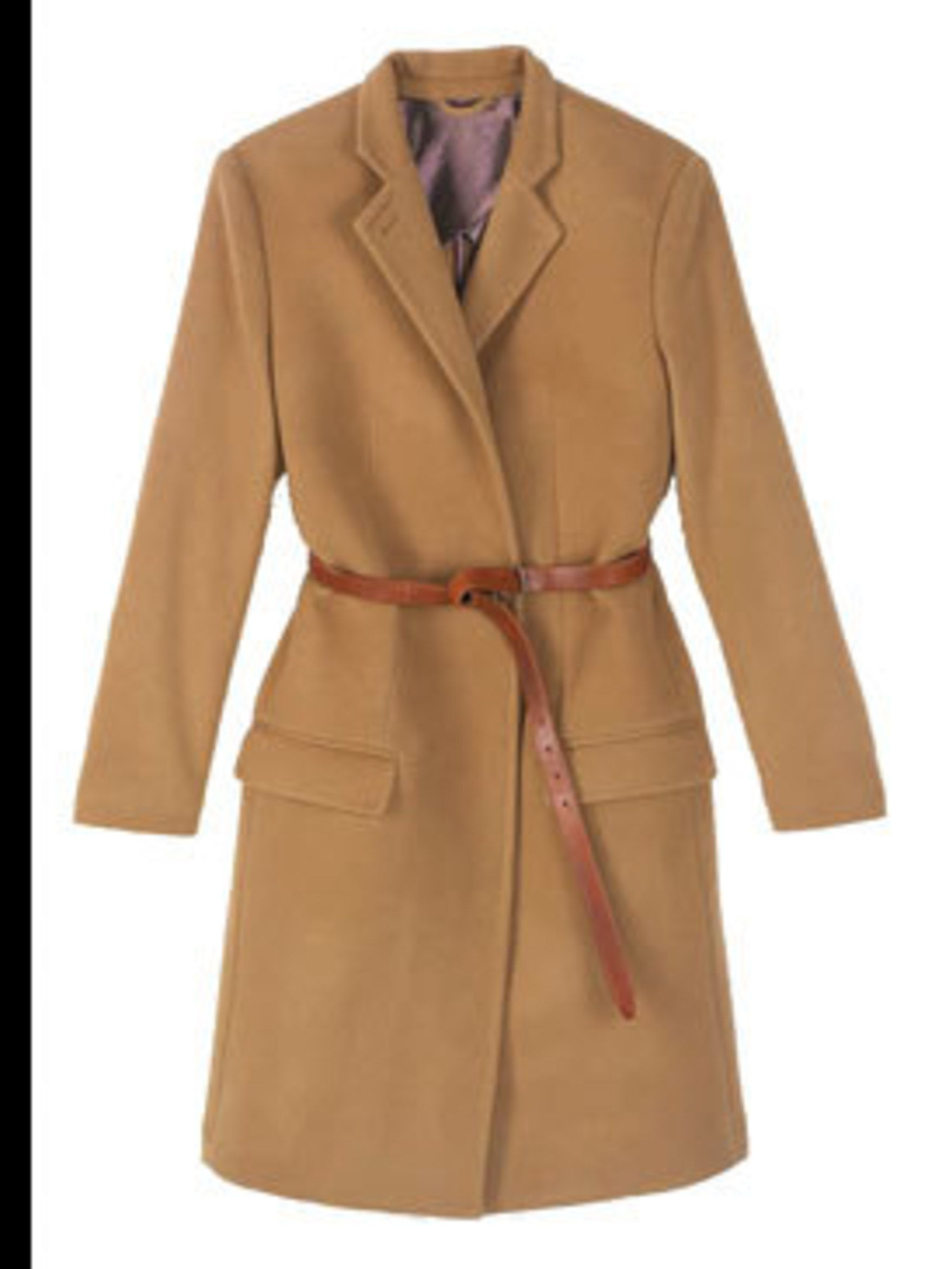 "<p>Camel coat with brown leather belt, £310, by <a href=""http://www.acnestudios.com/"">Acne</a></p>"