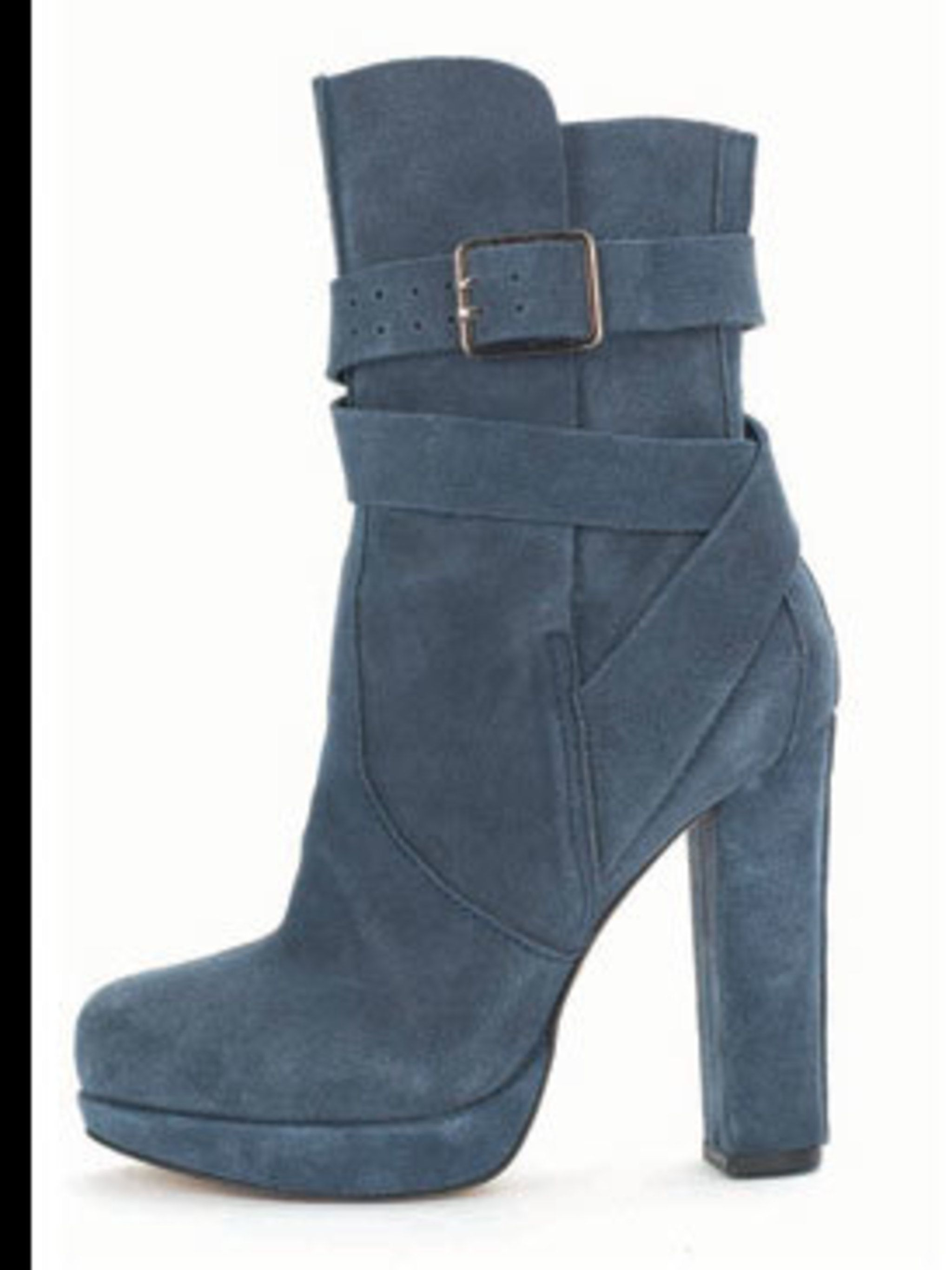 <p>Blue suede boots, £98, by Gap (0800 427789)</p>