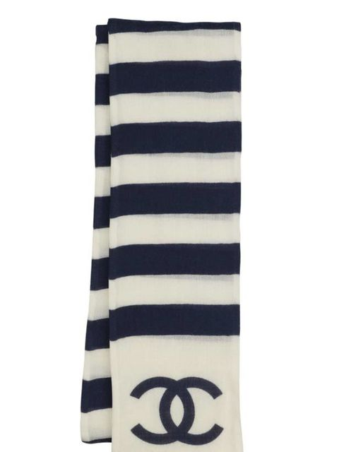 <p>Cashmere stripe scarf, £460, by Chanel (0207 493 5040)</p>