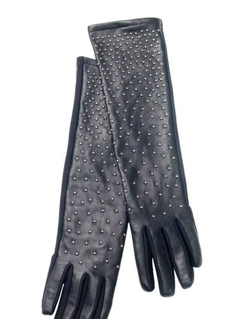 """<p>Black studded gloves, £69, by <a href=""""http://www.reiss.co.uk/shop/womens/scarves/annais/black_silver/"""">Reiss</a> </p>"""