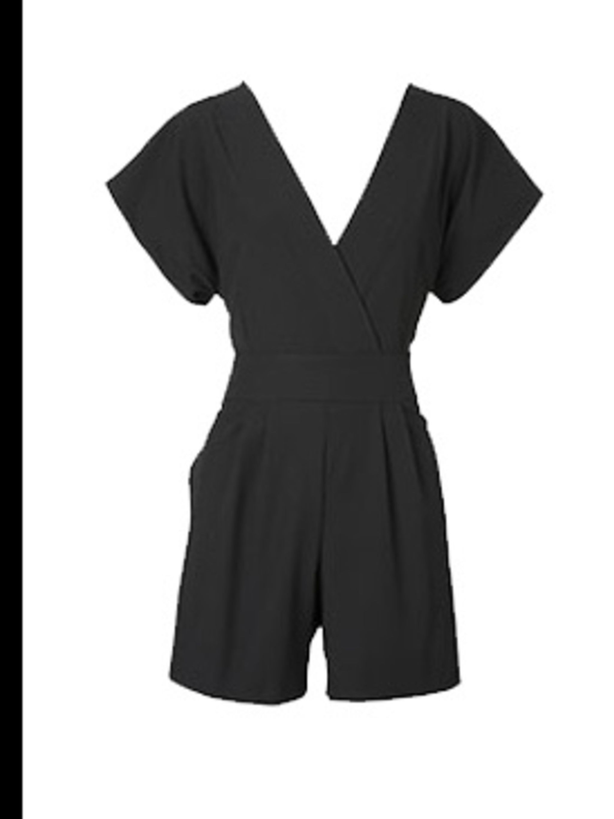 "<p>Black playsuit, £65, by <a href=""http://www.oasis-stores.com/fcp/product/Oasis//Kimono-Jumpsuit/3420002101"">Oasis</a></p>"