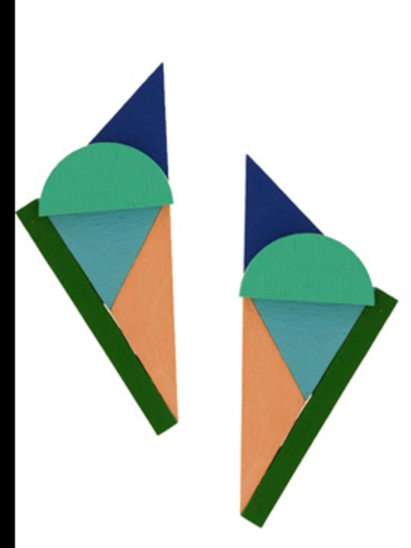 """<p>Earrings, £110.00 by Rachel Gilman at <a href=""""http://www.kabiri.co.uk/jewellery/earrings/triangle_crescent_earringsgreen"""">Kabiri</a></p>"""