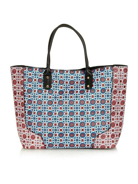 "<p>City suitable or beach ready..This tote is ready for both..</p><p>Tote £36 by <a href=""http://www.topshop.com/en/tsuk/product/bags-accessories-1702216/bags-purses-462/tile-print-saffiano-tote-bag-2964375?bi=1&amp;ps=200"">Topshop</a></p>"