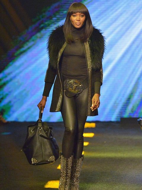 <p>Naomi Campbell walks the runway during the Philipp Plein AW14 show during Milan Fashion Week</p>