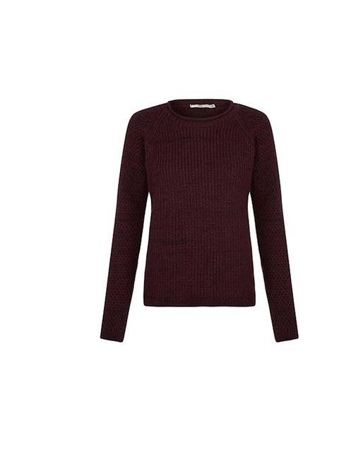 "<p>Wear this chunky knit over a printed silk shirt - a mix of different textures makes for a great layered look. </p><p><a href=""http://www.newlook.com/shop/womens/knitwear/burgundy-roll-neck-raglan-jumper-_291267067"">New Look</a> jumper, £19.99</p>"