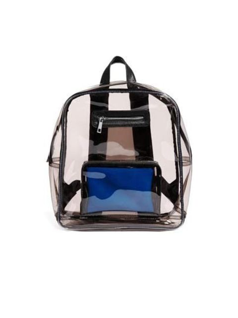 """<p><a href=""""http://www.asos.com/ASOS/ASOS-Clear-Backpack-With-Internal-Coin-Purse/Prod/pgeproduct.aspx?iid=3701378&amp;SearchQuery=clear%20plastic%20backpack&amp;sh=0&amp;pge=0&amp;pgesize=36&amp;sort=-1&amp;clr=Black"""">Asos</a> backpack, £38</p>"""