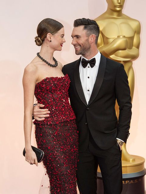Behati Prinsloo and Adam Levine at the Academy Awards, February 2015.