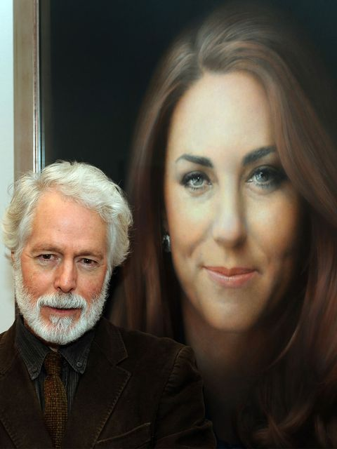 <p>Artist Paul Emsley with Kate Middleton's first official portrait</p>