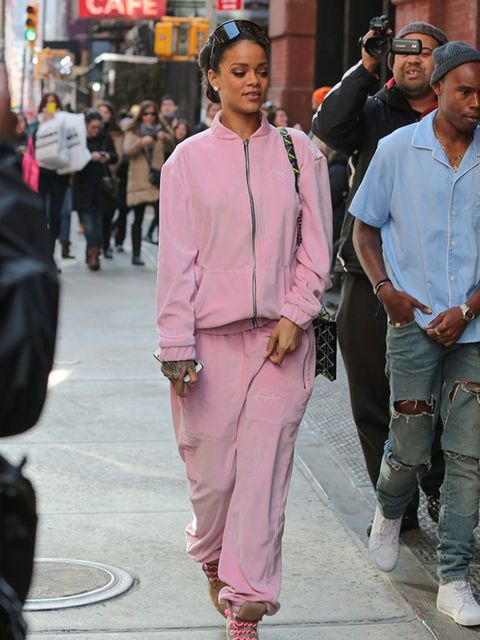 <p>Proof from Rihanna that a tracksuit can be girly and chic.</p>