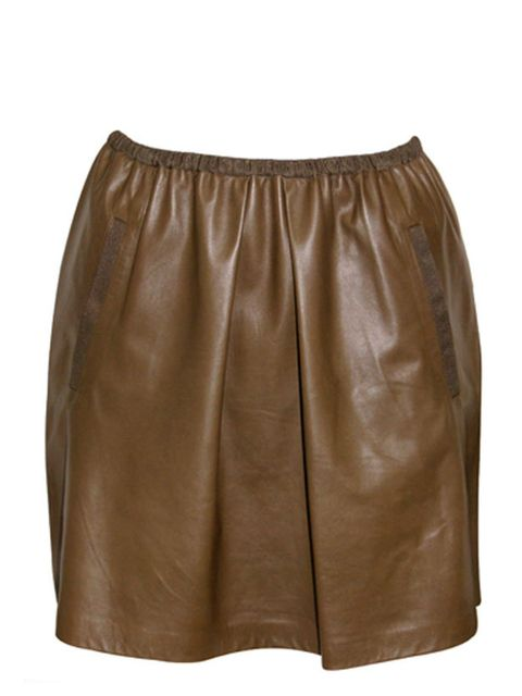 "<p>Brown leather skirt, £295, by Sea NY at <a href=""http://www.oxygenboutique.com/products/479/56/sea_ny_leather_skirt/"">Oxygen</a> </p>"