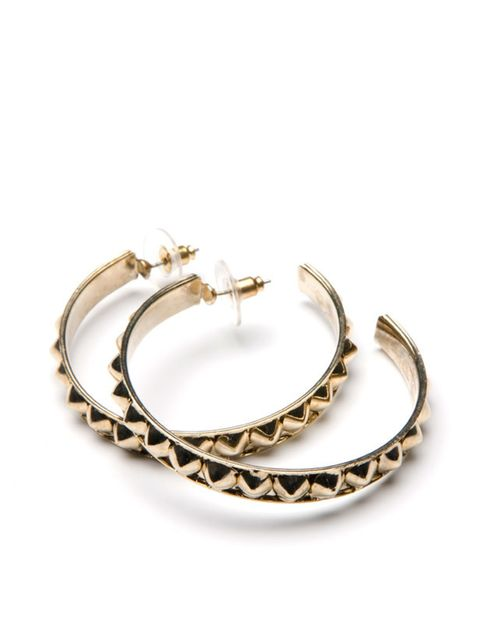 <p>Studded hoop earrings, £11, by Mango (0207 434 3694) </p>