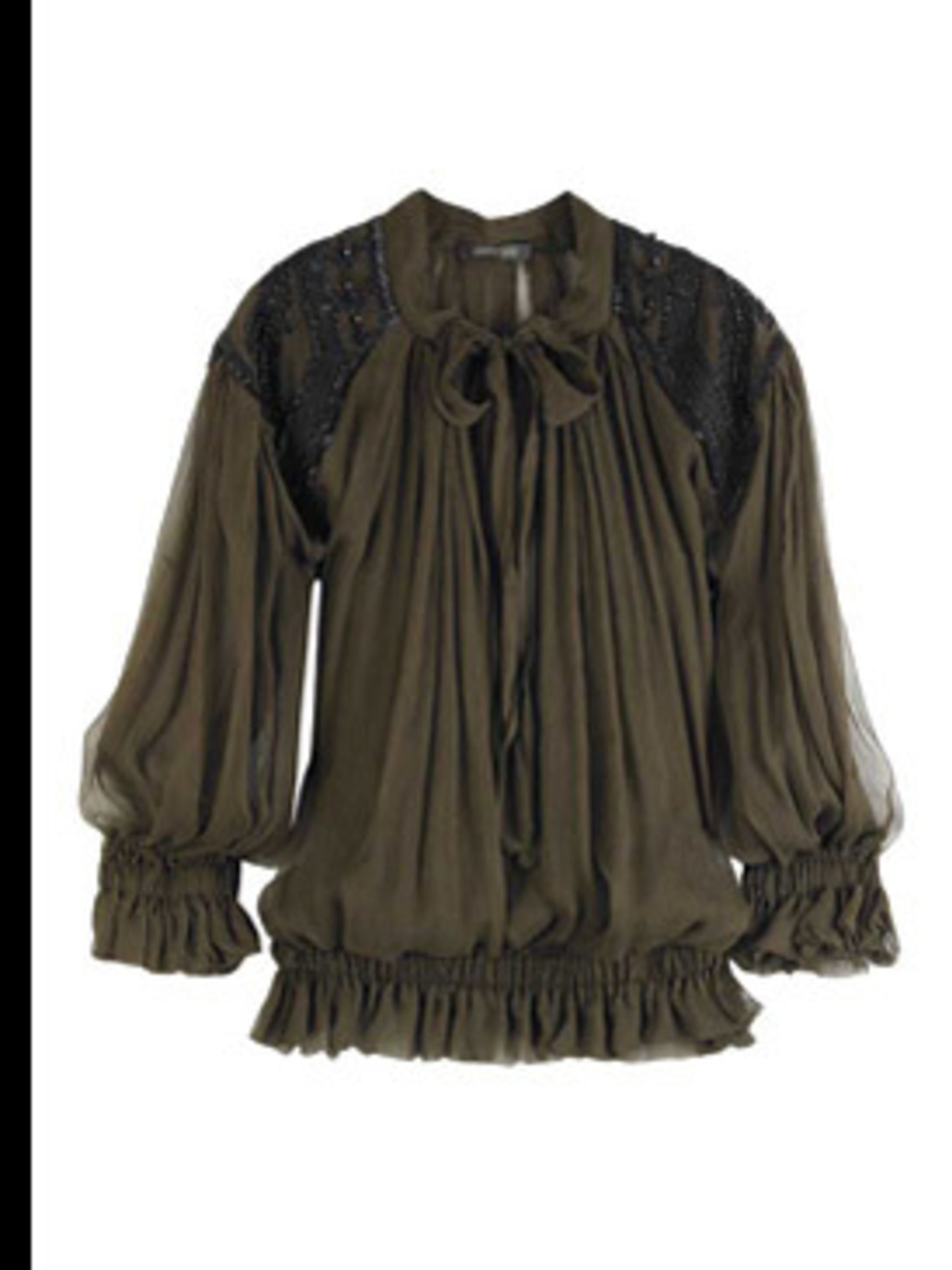 <p>Tie-front chiffon blouse, £915, by Roberto Cavalli at (0207 823 1879)</p>