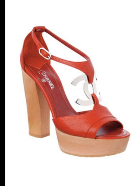 <p>Red leather platform sandals with inter-locking 'C' detail, £380, from Chanel. For more stockist details call 020 7493 5040.</p>