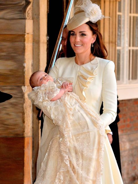 "<p><a href=""http://www.elleuk.com/star-style/celebrity-style-files/kate-middleton-s-style-file"">Catherine, Duchess of Cambridge</a> carries her son Prince George of Cambridge after his christening at the Chapel Royal in St James's Palace, London, October"