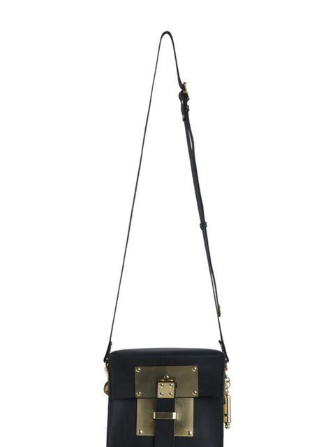 "<p><a href=""http://www.sophiehulme.com/main.html"">Sophie Hulme</a> armoured box bag, £285</p>"