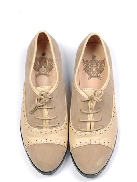 "<p>Nude brogues, £30, by <a href=""http://www.katekanzier.com/department/B81585D2-8FA9-4ED7-B1BC-6B91FC930AF1/brogues"">Kate Kanzier</a> </p>"