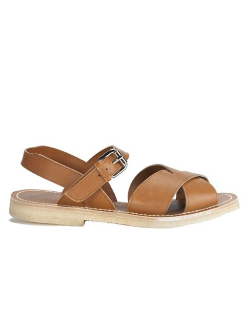 <p>Tan leather buckle sandals, £305, by Margaret Howell (0207 009 9009)</p>