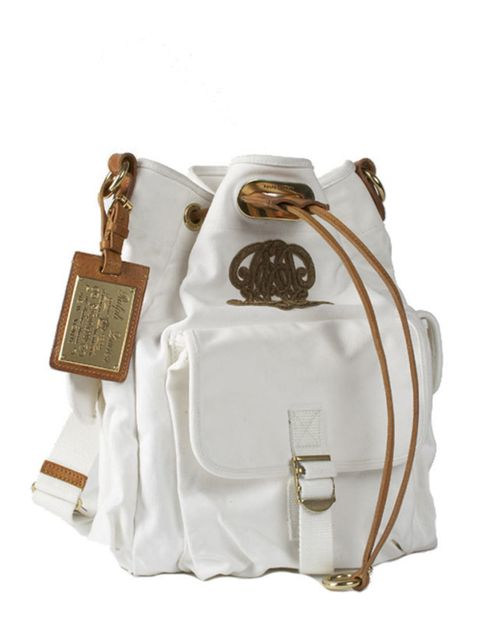 <p>White and tan leather duffle bag, £660, by Ralph Lauren Collection (0207 535 4600)</p>