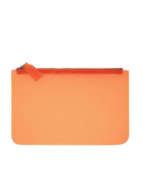 <p>Orange plastic clutch, £12, by Cos (0207 478 0400)</p>