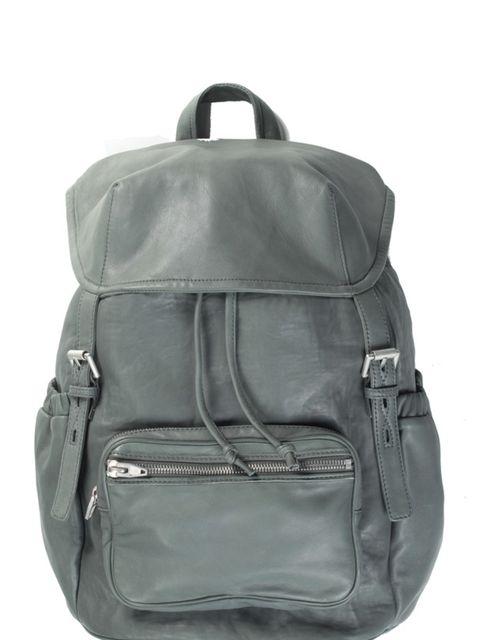 """<p>Grey leather rucksack, £799, by <a href=""""http://shop.alexanderwang.com/shop/"""">Alexander Wang</a> </p>"""