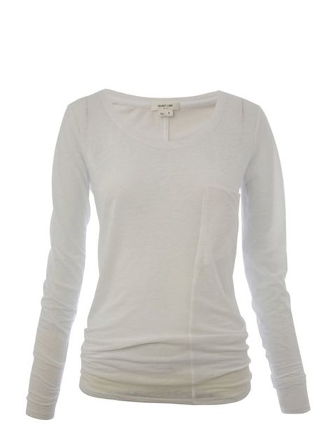 """<p>Long sleeve pocket T-shirt, £110, by Helmut Lang at <a href=""""http://www.liberty.co.uk/fcp/product/Liberty//White-Hidden-Pocket-Tee,--Helmut-Lang/36931"""">Liberty</a></p>"""