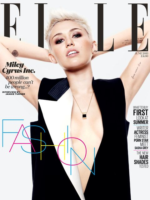 <p>Miley Cyrus on the June cover of ELLE</p>