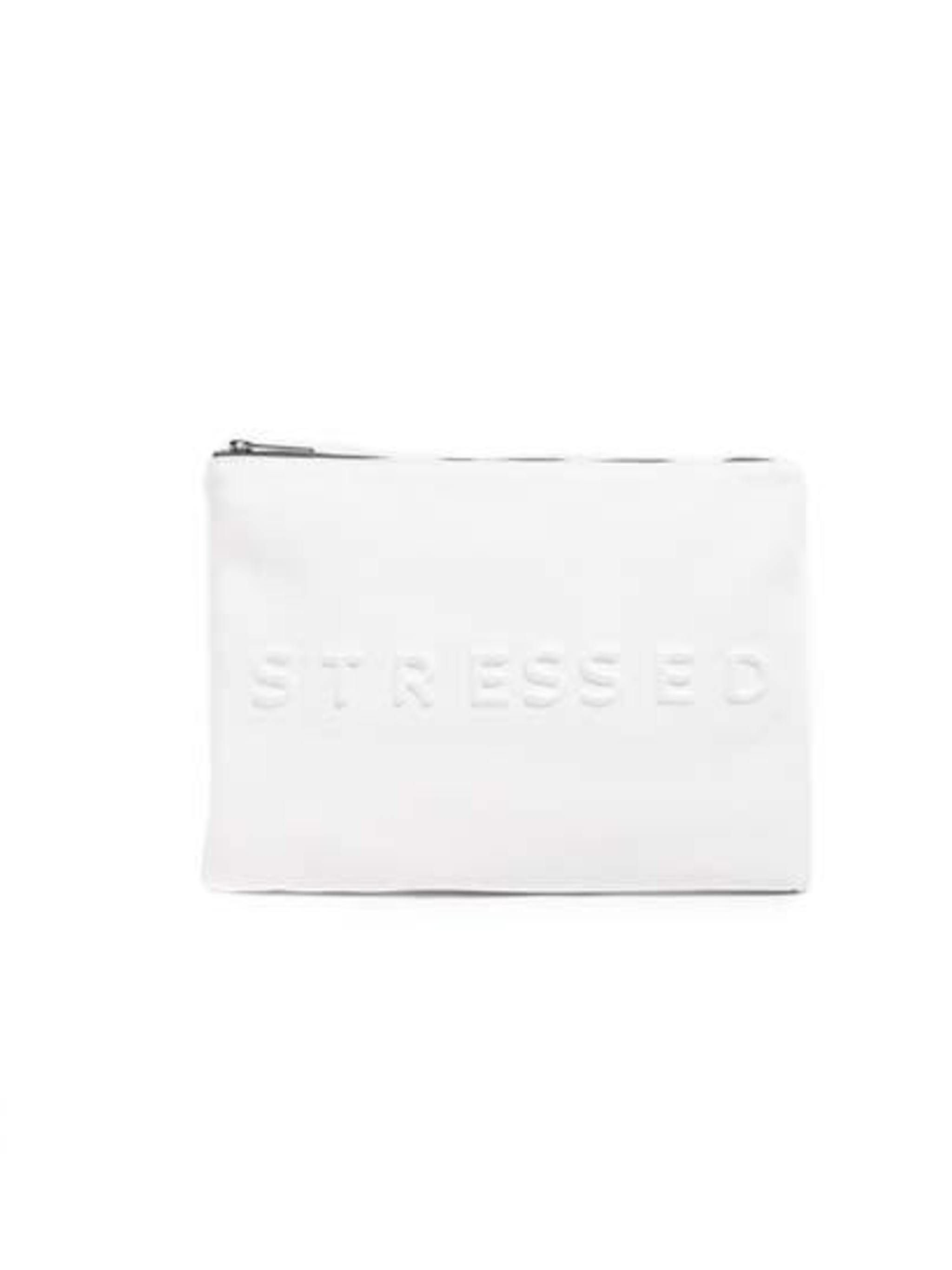 "<p>If only stress always looked this good  .. </p><p>White 'Stressed' pouch £19.99 from <a href=""http://www.zara.com/uk/en/woman/accessories/%22stressed%22-clutch-c376002p1794518.html"">Zara</a></p>"