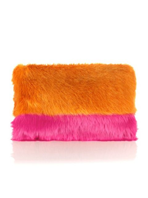 "<p>Shrimps orange faux fur Grayson clutch, £195, <a href=""http://www.avenue32.com/bags/clutch-bags/orange-faux-fur-grayson-clutch-15202.html"">Avenue32.com</a>.</p><p><em><a href=""https://itunes.apple.com/gb/app/elle-magazine-uk/id469353635?mt=8&affId="