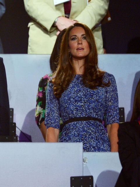 """<p><a href=""""http://www.elleuk.com/star-style/celebrity-style-files/kate-middleton"""">Kate Middleton</a> wears a Whistles dress at the London 2012 Closing Ceremony.</p>"""