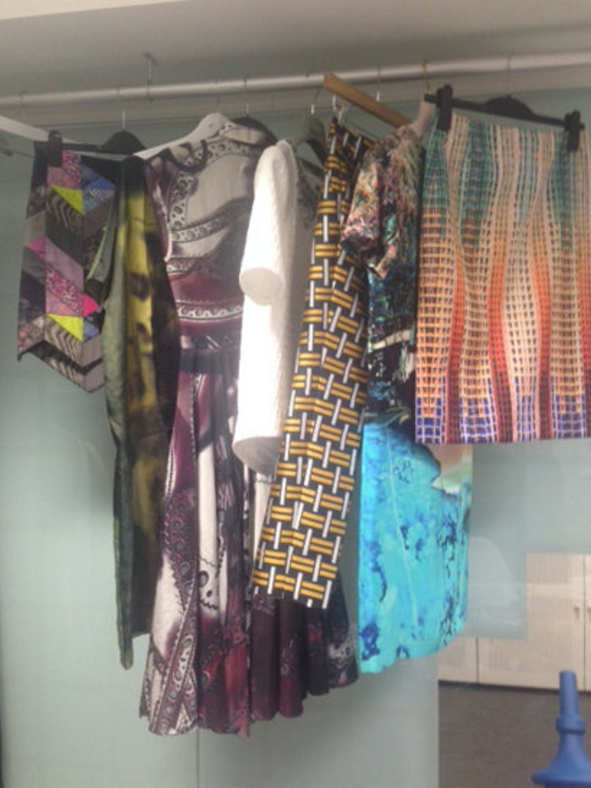 <p>Some of Team ELLE's outfits hanging in the Fashion Cupboard. We just can't decide what to wear....</p>