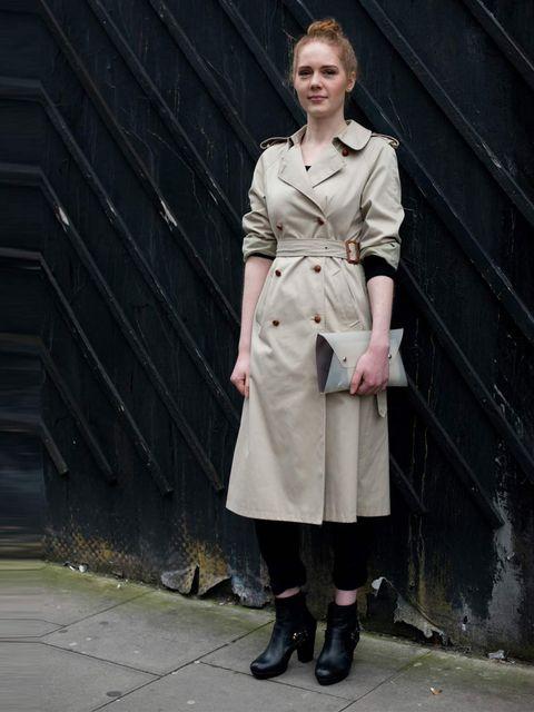 <p>Ginger Clark, Fashion Coordinator. House of Fraser jacket, Dior trousers, Kurt Geiger boots, Daks bag.</p>