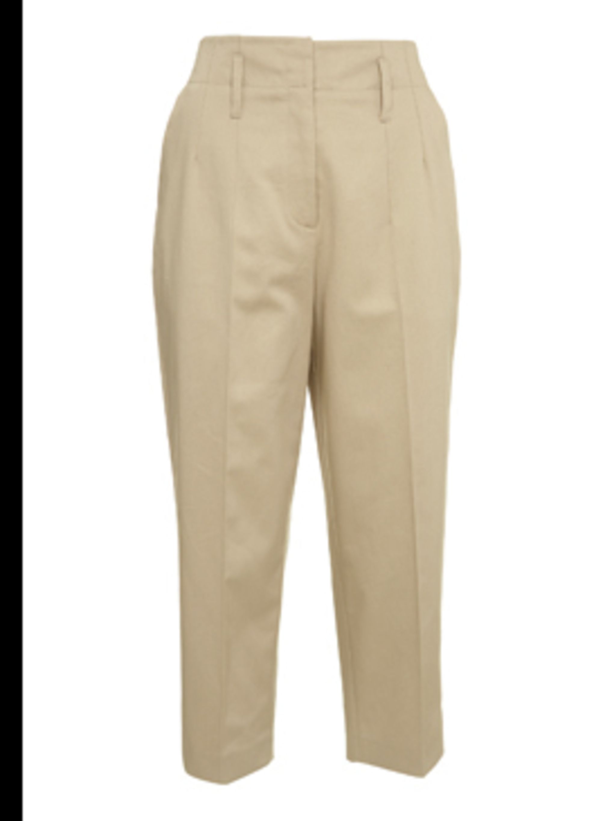 <p>Beige high waisted trousers, £80, by Whistles. For stockists call 0870 770 4301</p>