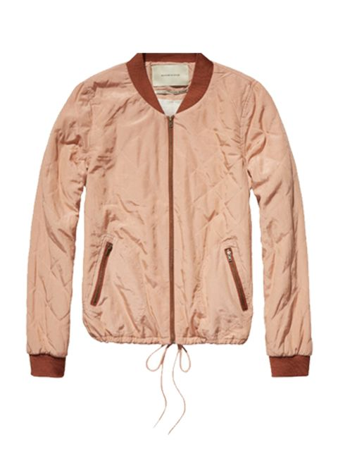 """<p>Add a pop of colour with this light weight bomber.</p><p>Jacket by <a href=""""http://webstore-uk.scotch-soda.com/women/jackets/quilted-jacket/14210131738.html?dwvar_14210131738_color=blush"""">Maison Scotch</a>, £158.95</p>"""