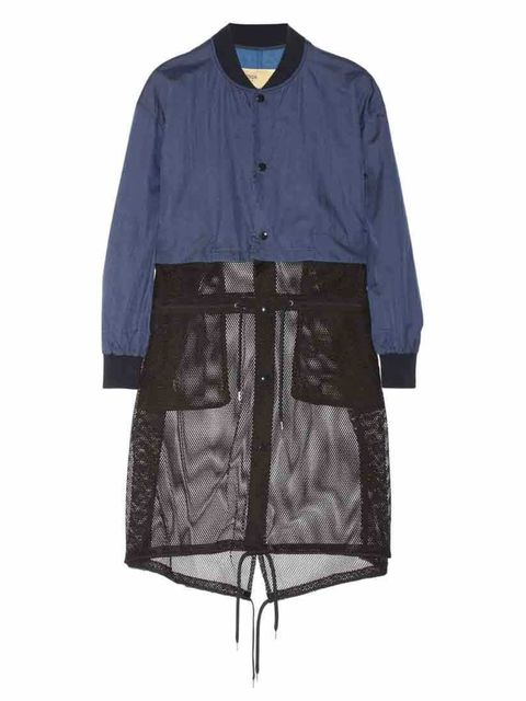 """<p>The mesh hem of this jacket unzips and it magically transforms into a bomber. Two for the price of one, at least thats how we will justify it.</p><p>Jacket <a href=""""http://www.net-a-porter.com/product/432622/Toga/convertible-shell-and-mesh-jacket"""">Toga"""