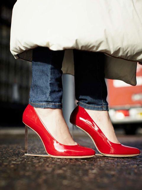 <p>Julia Shutenko, ELLE Fashion Intern:</p><p>Maison Martin Margiela with H&amp&#x3B;M red patent plexi wedge shoes, Zara jeans, Maison Martin Margiela with H&amp&#x3B;M duvet coat</p>