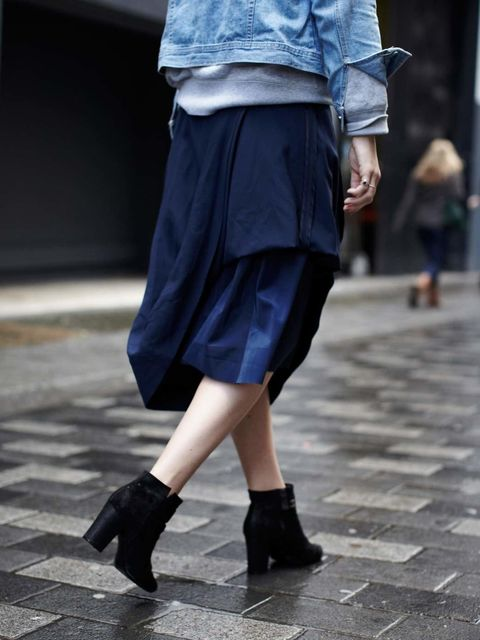 <p>Charlotte Lewis, ELLE Fashion Intern:</p><p>Vintage denim jacket, Maison Martin Margiela with H&amp&#x3B;M skirt</p>