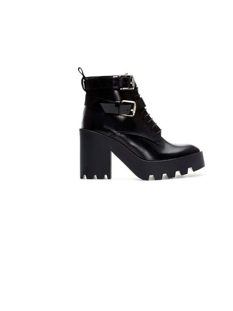 """<p>team the look with a pair of chunky and comfortable boots. These are available at <a href=""""http://www.zara.com/uk/en/woman/shoes/leather-track-ankle-boot-c269191p1468549.html"""">Zara</a>, £109</p>"""