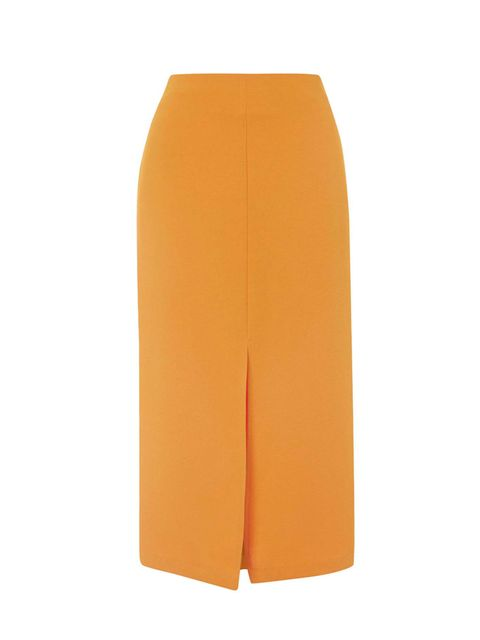 """<p>Executive Fashion & Beauty Director Kirsty Dale is all over this tangerine dream. Tuck in a crisp white shirt for extra style points.</p>  <p><a href=""""http://www.topshop.com/en/tsuk/product/new-in-this-week-2169932/split-front-midi-skirt-4546149?bi=1&p"""