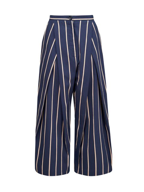 """<p>Fashion Intern Emi will pair these trousers with an off-the-shoulder top to beat the heat.</p>  <p><a href=""""http://www.atterley.com/blue-stripe-cotton-trousers-1.html"""" target=""""_blank"""">Atterley</a> trousers, £48</p>"""