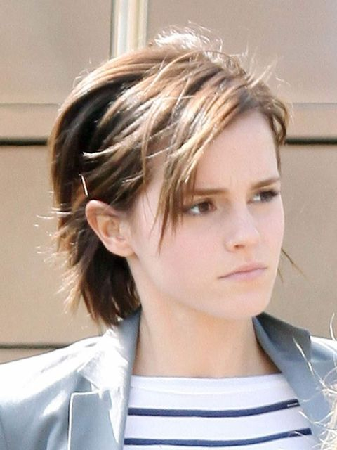 <p>Emma Watson spotted with a bob, March 2012</p>