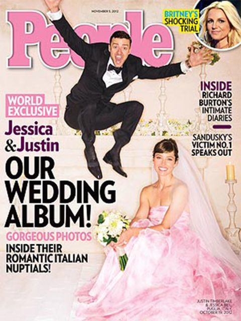 It was pink for Jessica Biel and black tie for Justin Timberlake in October 2012.
