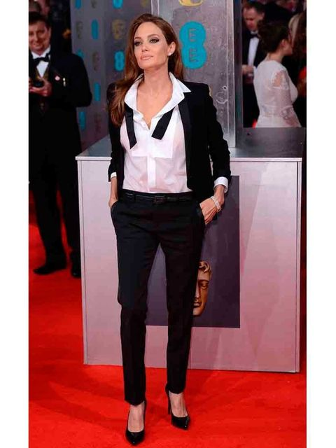 "<p><a href=""http://www.elleuk.com/star-style/celebrity-style-files/angelina-jolie-s-style-file"">Angelina Jolie</a> in Saint Laurent.</p><p>She is SO feminine that wearing a chic yet masculine suit doesn't compromise her. She oozes sexuality.</p><p><a href"