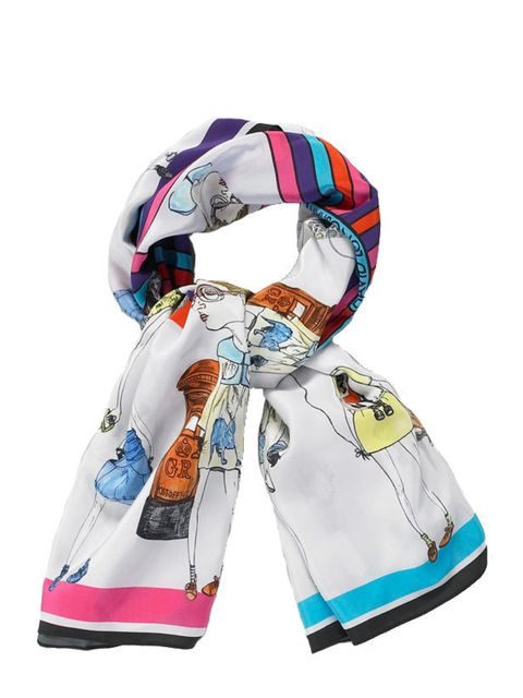 "<p>Dominique Mosley & David Longshaw 'Globetrotter' scarf, £249, at <a href=""http://www.harrods.com/product/david-longshaw-and-dominique-mosley/globetrotter-illustrated-scarf/000000000002508939?cat1=accessories&cat2=for-her-scarves"">Harrods</a></p"