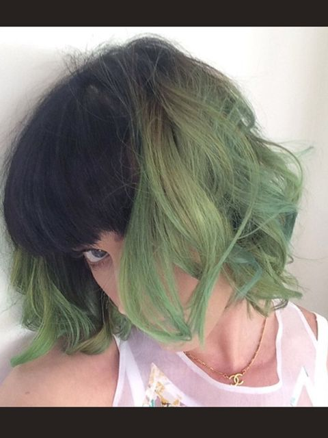 <p>Katy Perry dyes her hair and instagrams - 'slime green for spring', April 2014.</p>