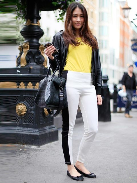 <p>Mimi, 21, Student. Forever 21 jacket, top and trousers from Thailand, Zara shoes, Givenchy bag.Photo by Silvia Olsen</p>