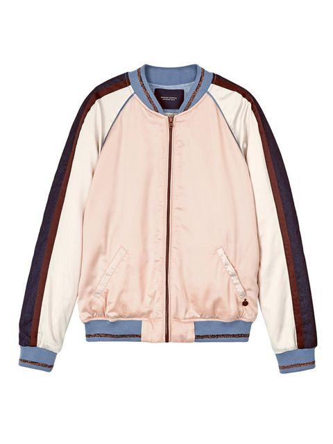 "<p>£185, Maison Scotch at <a href=""http://www.veryexclusive.co.uk/maison-scotch-fringe-detail-bomber-jacket-pink/1600047551.prd"" target=""_blank"">Very Exclusive</a></p>"