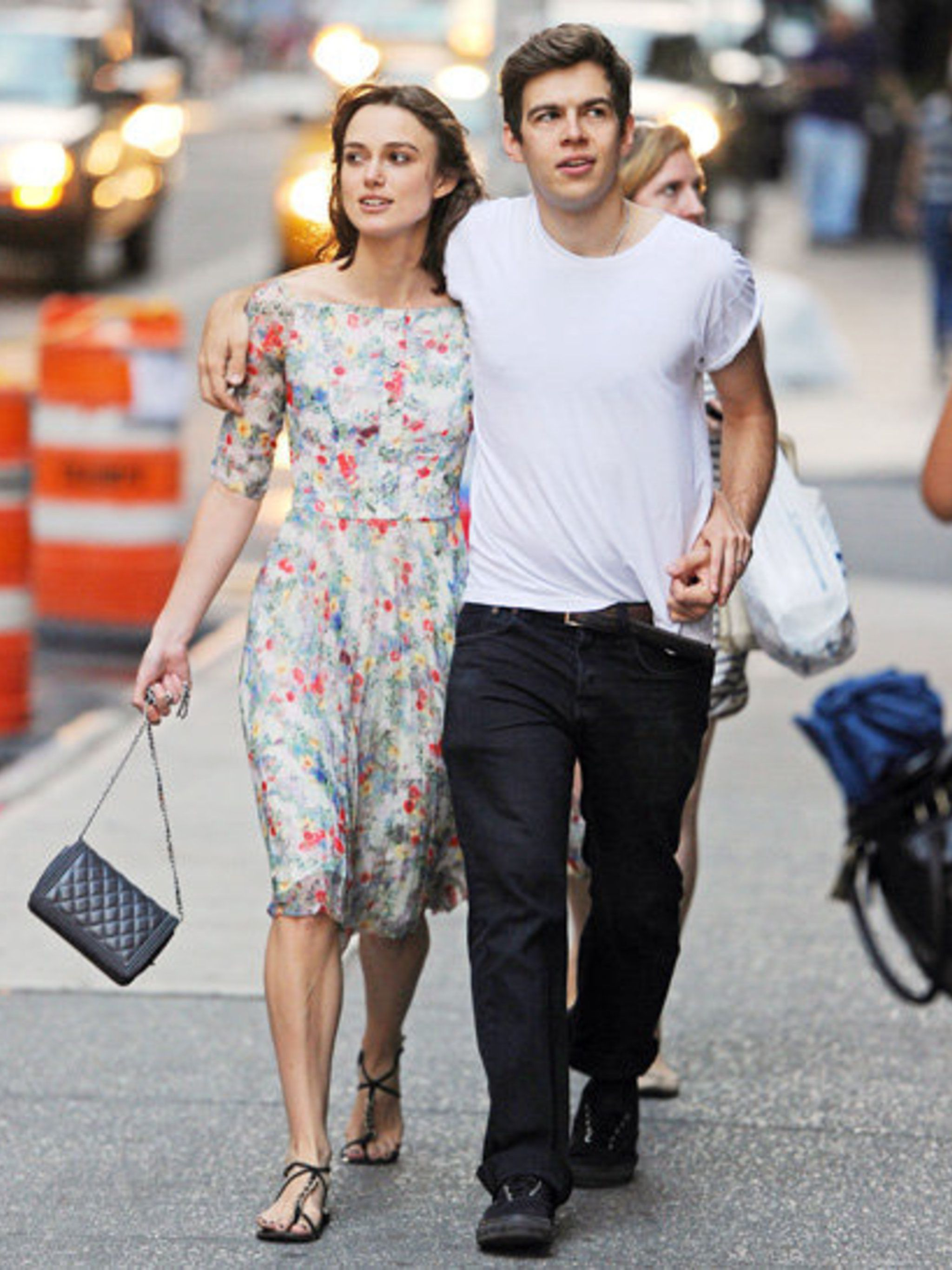 <p>Keira Knightley in Erdem, with fiance James Righton in New York</p>