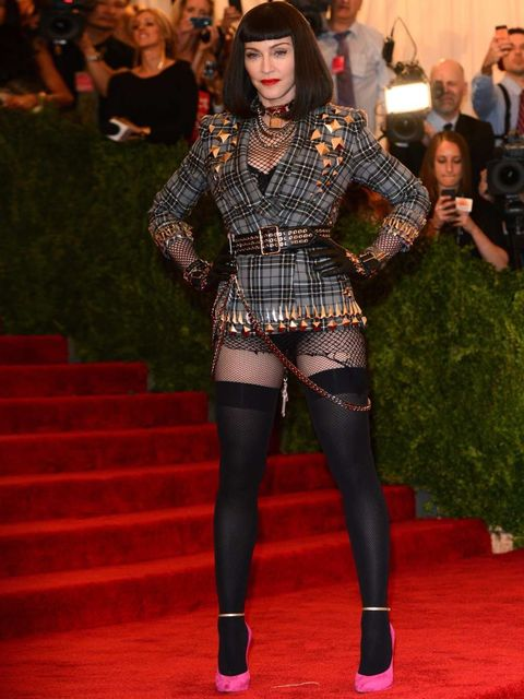 <p>Madonna at the MET Gala is wearing punk style Givenchy outfit.</p>