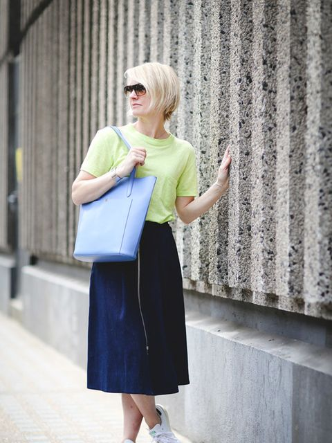<p>Lorraine Candy, Editor-in-Chief</p>  <p>Whistles T-shirt and skirt, adidas trainers, Bobbi Brown sunglasses, Smythson bag and Gucci watch</p>